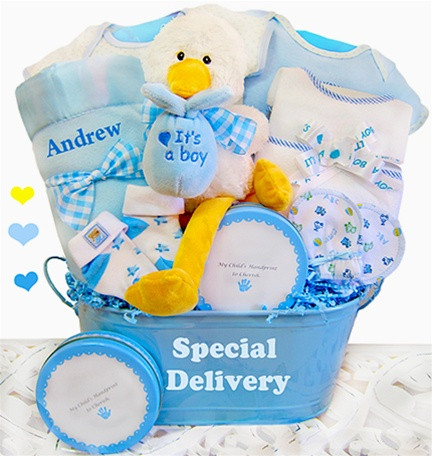 Special Delivery Keepsake Tin Baby Boy Gift Basket - BLUE