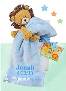 Little Lion Plush With Blue Blanket Baby Boy Gift Set