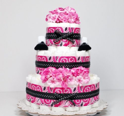 Precious in Pink Paisley Baby Girl Diaper Cake Centerpiece