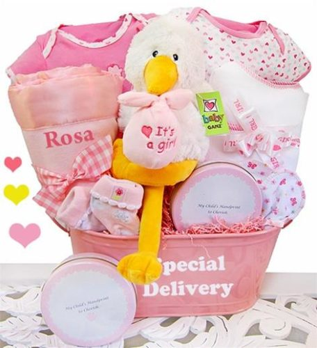 Special Delivery Keepsake Tin Baby Girl Gift Basket - PINK