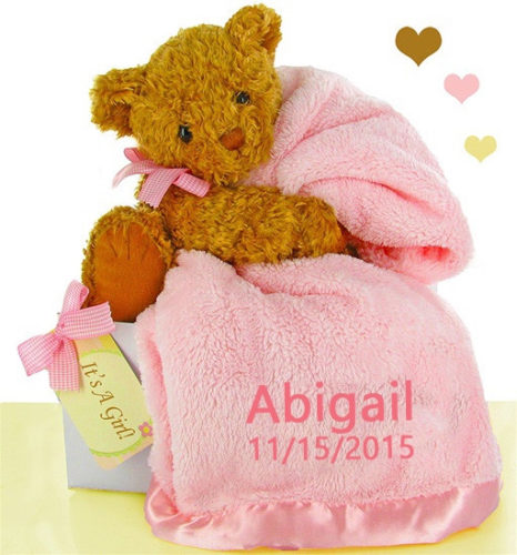 Pretty in Pink Plush Bear & Blanket Baby Girl Gift Set