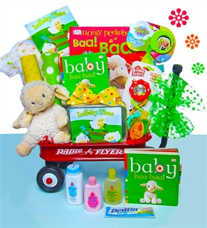 Lullaby Time Baby Gift Basket Radio Flyer Wagon