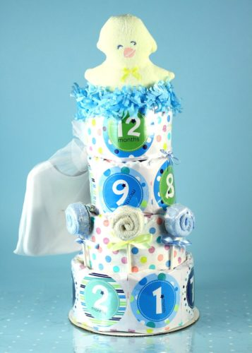 Belly Stickers Baby Shower Diaper Cake - Boy