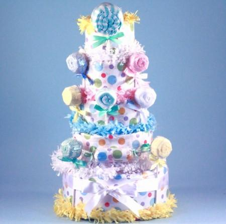 Deluxe Lollipop Baby Diaper Cake - Gender Neutral