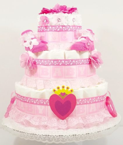 Hearts and Flowers Princess Baby Diaper Cake