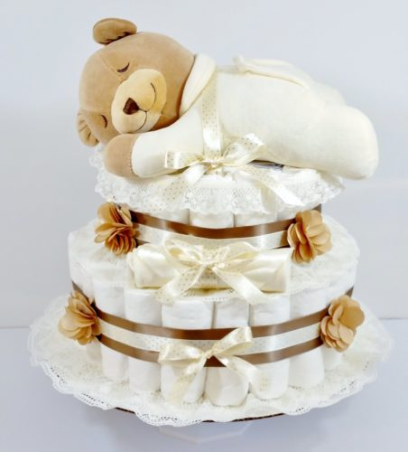 Slumber Bear Gender Neutral Baby Diaper Cake