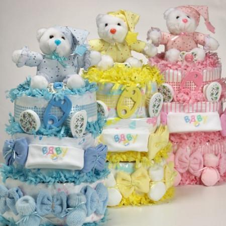 Sweet Bear Baby Girl Diaper Cake - Strawberry