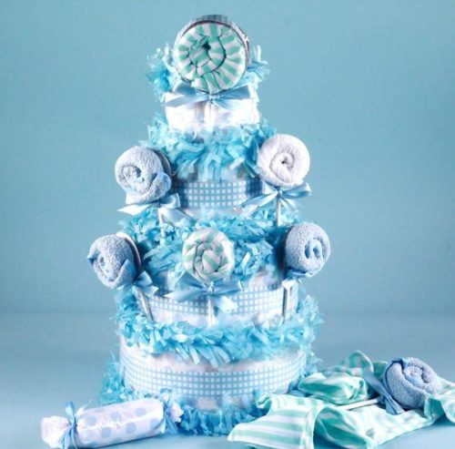 Sweet Lollipop Baby Shower Diaper Cake - Boy