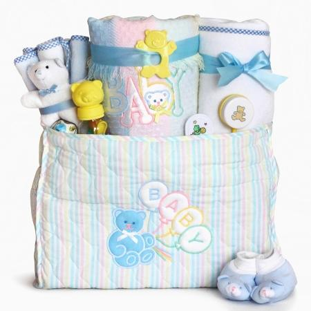 Deluxe Baby Diaper Tote Bag Gift Set - Boy