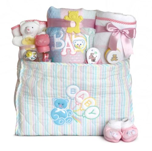 Deluxe Baby Diaper Tote Bag Gift Set - Girl