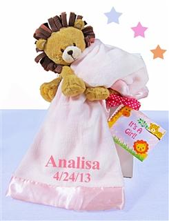 Little Lion Plush With Pink Blanket Baby Girl Gift Set