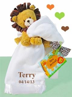 Little Lion Plush With White Blanket Gender Neutral Baby Gift Set