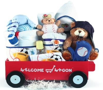 Little Slugger Deluxe Welcome Wagon Baby Boy Gift Basket