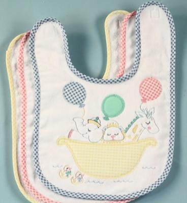 Noah's Ark Baby Boy Bib With Blue Gingham Trim