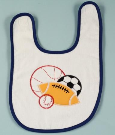 Sports Balls Baby Boy Bib With Blue Trim