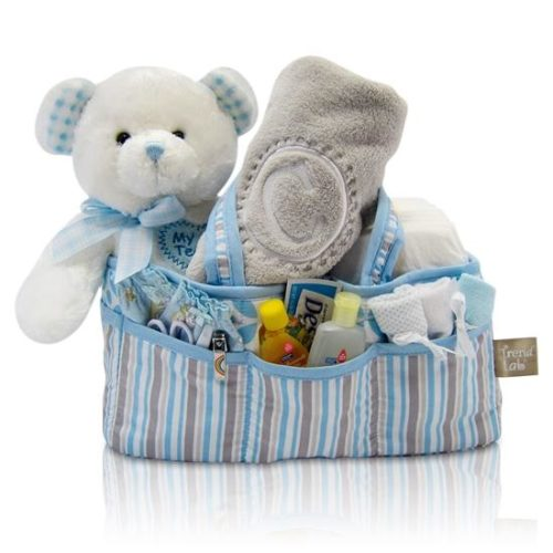 Baby Boy's First Teddy Bear & Diaper Caddy Gift Basket Tote - Blue