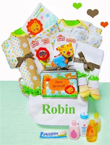 Jungle Pals Gender Neutral Baby Gift Basket with Personalized Bib