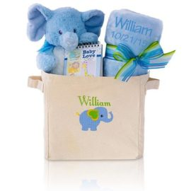 Welcome Home Baby Boy Gift Basket Tote – Blue Elephant