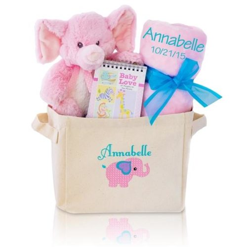 Welcome Home Baby Girl Gift Basket Tote - Pink Elephant