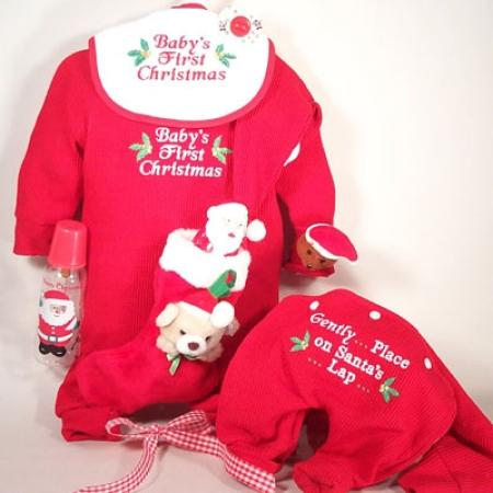 Baby's First Christmas Outfit Santa Hat & Stocking Holiday Gift Set
