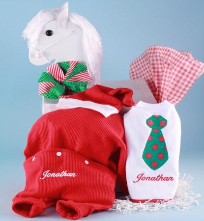 Baby Boy Christmas Outfit, Santa Hat & Bib Holiday Gift Set
