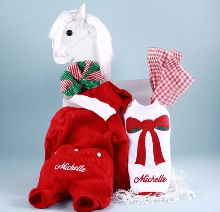 Baby Girl Christmas Outfit, Santa Hat & Bib Holiday Gift Set
