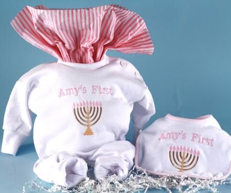 Baby Girl's First Chanukah Outfit & Bib Holiday Gift Set