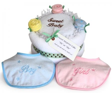 Sweet Baby Gender Reveal Layette Towel Cake Gift Set
