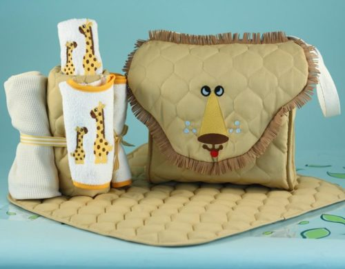 Lion Diaper Tote Bag Gender Neutral Baby Gift Set