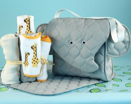 Elephant Diaper Tote Bag Gender Neutral Baby Gift Set