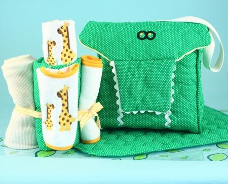 Alligator Diaper Tote Bag Gender Neutral Baby Gift Set