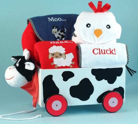 Barnyard Friends Welcome Wagon Gender Neutral Baby Gift Basket