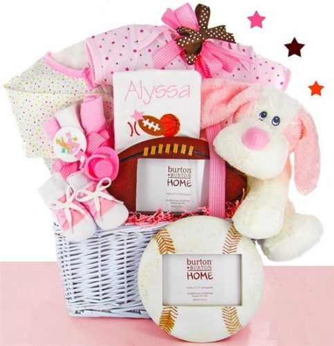 All Star Baby Girl Gift Basket with Personalized Bib
