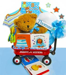 BOY Starts With B! Baby Gift Basket Radio Flyer Wagon