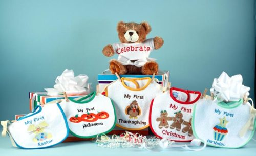 Baby's First Holiday Bibs & Bear Gift Set - Christmas Easter