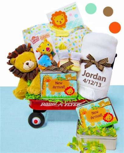 Jungle Jamboree Gender Neutral Baby Gift Basket Radio Flyer Wagon