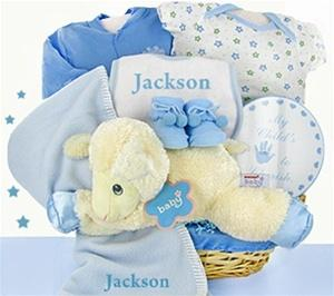 Little Lamb Nap Time Baby Boy Gift Basket - BLUE