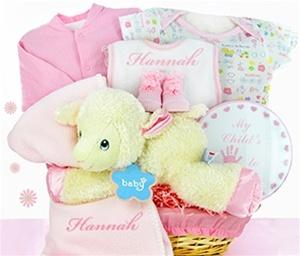 Little Lamb Nap Time Baby Girl Gift Basket - PINK