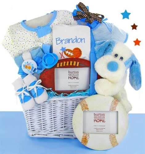 All Star Baby Boy Gift Basket with Personalized Bib