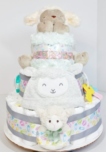 Mommy's Sleepy Little Lamb Gender Neutral Baby Diaper Cake