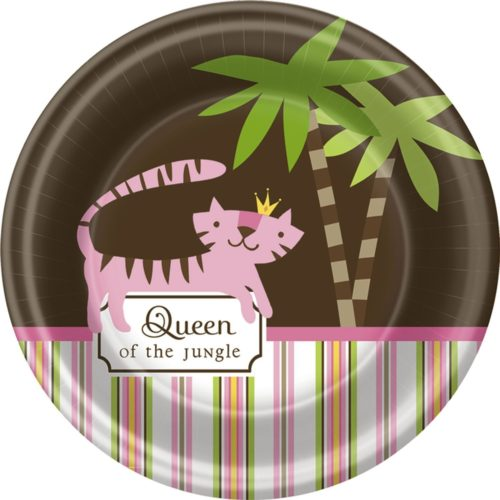 Queen of the Jungle Pink Girl Baby Shower Party Dessert Plates