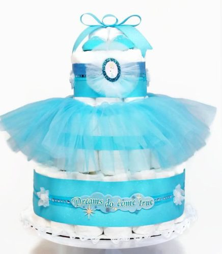 Cinderella Dreams Come True Baby Girl Diaper Cake Centerpiece