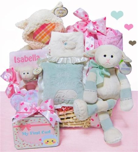 Lamby Love Personalized Baby Girl Moses Gift Basket