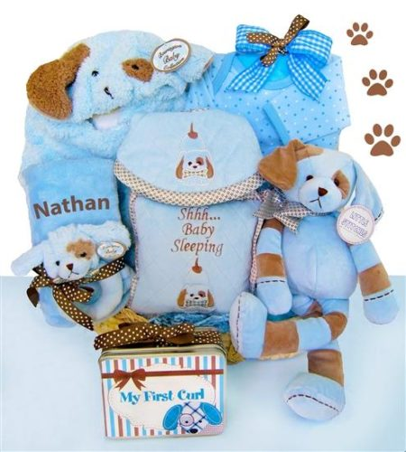 Puppy Love Personalized Baby Boy Moses Gift Basket
