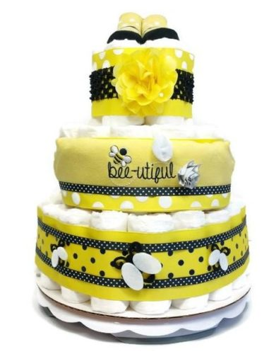 Beautiful Bumble Bee Baby Girl Diaper Cake Shower Centerpiece