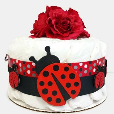 Little Ladybug Small One Tier Girl Diaper Cake Baby Shower Centerpiece