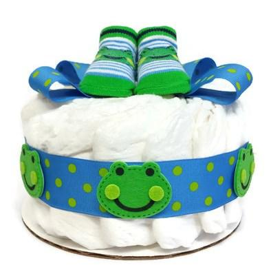 Friendly Frog Small Baby Boy Diaper Cake, One Tier Diaper Cake, Baby Boy Shower Centerpiece