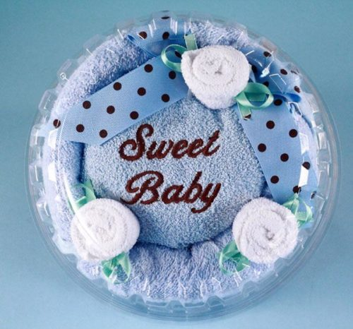 Sweet Baby Boy Hooded Towel Cake Gift Set