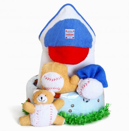 Little Slugger Baseball Baby Boy Diaper Cake with Bath Essentials