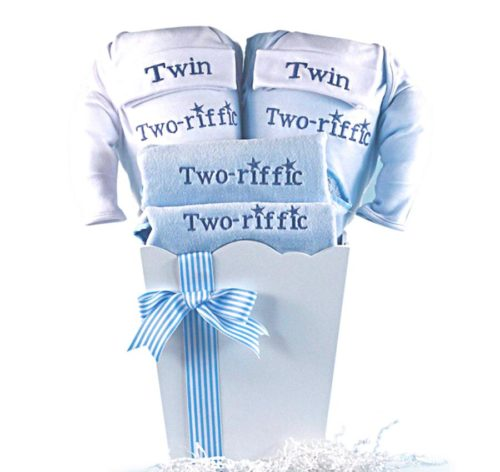 Terrific Two-riffic Twins Baby Boy Gift Basket